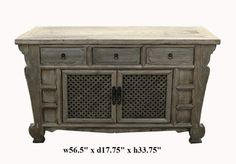 Rustic Raw Wood Bold Look Sideboard Buffet Table - Golden Lotus Antiques