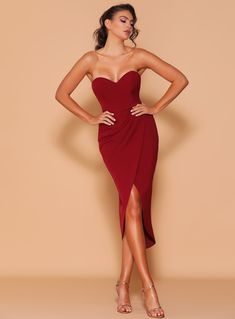 A beautiful full length dress by Les Demoiselle LD1131. A strapless style featuring sweetheart neckline and wrap style skirt. Cocktail Length Dress, Red Cocktail Dress, Stylish Dresses For Girls, Nice Dresses, Amazing Dresses, Elegant Dresses, Formal Dresses, Strapless Cocktail Dresses, Strapless Dress Formal