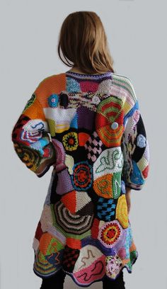 Multicolor cardigan hand made crochet patchwork vest jacket hippie dress boho chic vintage high fashion bohemian gypsy.