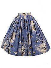 50s Alfred Shaheen Hawaiian Tropical Fish Print Full Skirt