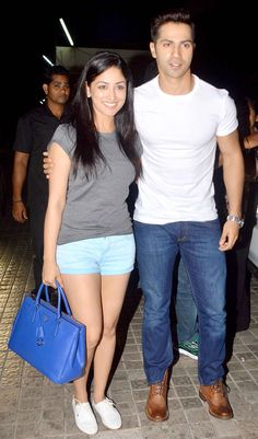 Varun Dhawan with Yami Gautam at a special screening of 'Badlapur'. #Bollywood…