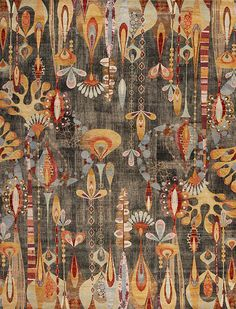 For Sale on - This vibrant and cheerful Art Deco style floral rug comes from India. These Indian rugs are designer rugs with unique patterns. These wool rugs are beautifully Art Textile, Textile Patterns, Textiles, Art Chinois, Art Deco Rugs, Art Japonais, Indian Rugs, Floral Rug, Contemporary Rugs