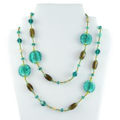 large beaded necklaces | This wonderful glass and wood beaded long necklace from Namaste is ...