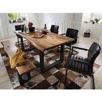 Esszimmergruppe Escoba mit Baumkantentisch im Loft Style (6-teilig)