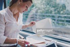 Stock Photo : Businesswoman working in train.
