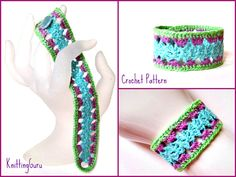 Brand New Crochet Pattern - Pastel Silk Lace Cuff - really fast and easy to crochet in silk thread or size 10 crochet cotton.