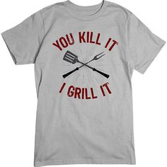 [Basic Tee] - You Kill It I Grill It   Our crew neck tee is made with 4.5 oz. 100% super soft combed ring-spun cotton and is preshrunk. #fathersday