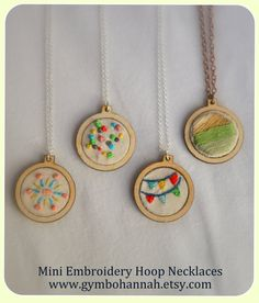 Mini Embroidery Hoop Necklace Atomic Burst by GymboHannah on Etsy, $22.00