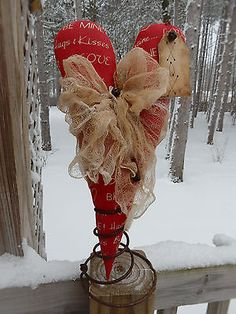 FoLk Art PrimiTive ValenTines Day GruNgy LoVe HEART Table Tree Topper DecoraTion in Antiques, Primitives | eBay
