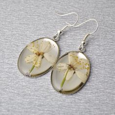 Apple blossom earrings  resin with real natural pressed by PikLus, $20.00