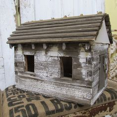 Old large wooden birdhouse cabin style display piece aged French Nordic inspired gray wood painted white weathered anita spero