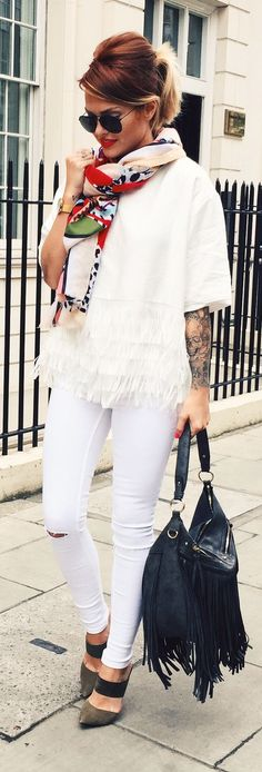 Spring Scarf Casual Chic Streetstyle by Caroline Receveur & Co