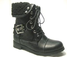 Girls Lace Up Buckle Kids Combat Military Warm Fold Over Boot TODDLER/YOUTH SIZE (10) Stella. $27.24