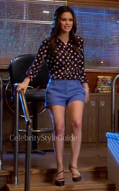 Seen on Celebrity Style Guide: Hart of Dixie Fashion: Rachel Bilson as Zoe Hart wore an Equipment Brett Single Pocket Shirt in Polka Dot Thistles Print and L�Agence Tailored Shorts on episode 'Why Don't We Get Drunk?'