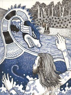 Nessie and St. Columba by ~LaurasMuse on deviantART