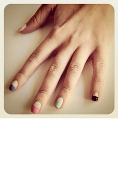 Deep colorful french manicure