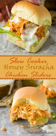 These slow cooker honey sriracha chicken sliders feature tender, slow cooked shredded chicken smothered in a sweet and tangy honey sriracha sauce, placed in a fresh slider roll and drizzled with savory blue cheese.   The Cozy Cook   #Sriracha #Chicken #Sliders #HoneySriracha #Sandwiches #SlowCooker #CrockPot #BlueCheese #BuffaloSauce