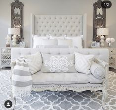 Stunning all white cozy bedroom decor with tall headboard