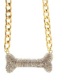 embellished dog bone necklace $21.90