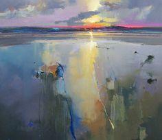 """""""Holkham Beach, Sunset"""", Oil Painting, 36 x 36, Peter Wileman, artist."""