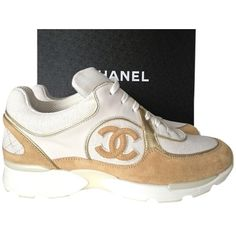 Pre-owned Chanel 2015 Cc Gold Sneakers Tennis Trainers Size 38... ($1,195) ❤ liked on Polyvore featuring shoes, sneakers, beige sneakers, chanel sneakers, white sneakers, gold tennis shoes and white shoes
