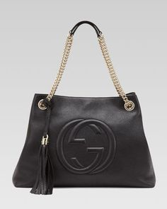 Soho Leather Medium Chain-Strap Tote, Black by Gucci at Neiman Marcus.