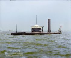 A beautifully colorized picture of a civil war era monitor: USS Canonicus Naval History, Military History, Uss Monitor, Colorized History, Us Navy Ships, Navy Military, America Civil War, Civil War Photos, Model Ships