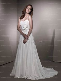A-line Sweetheart Sweep Train Chiffon White Wedding Dress With Hand Made Flower