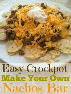 Easy Slow Cooker Make Your Own Nachos Bar Slow Cooker Times, Crock Pot Slow Cooker, Slow Cooker Recipes, Crockpot Recipes, Cooking Recipes, Crock Pots, Nacho Bar, Appetizer Recipes, Appetizers