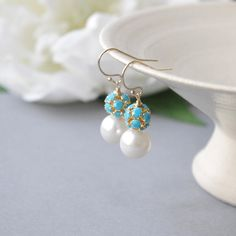 Gold Filled Swarovski Crystal Earrings Pearl by SarahOfSweden