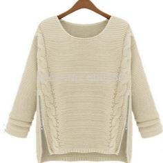 To find out about the Apricot Long Sleeve Side Zipper Cable Knit Sweater at SHEIN, part of our latest Sweaters ready to shop online today! Beige Sweater, Loose Sweater, Cable Knit Sweaters, Pullover Sweaters, Zip Sweater, Wooly Jumper, Sweater Coats, Sweater Weather, Thick Sweaters