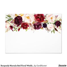 Custom Wedding Ring Burgundy Marsala Red Floral Wedding Details Info Card - Customizable Invitation made by Zazzle Invitations. Personalize it with photos Bridal Logo, Fashion Show Invitation, Inexpensive Wedding Invitations, Invitation Background, Floral Invitation, Quinceanera Invitations, Flower Backgrounds, Create Your Own Invitations, Flower Frame