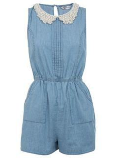 Mid Wash Pearl Collar Playsuit