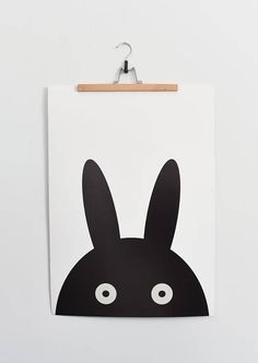 Poster for kids room YOO-HOO best quality Black and white poster, black rabbit. Scandi wall decoration.