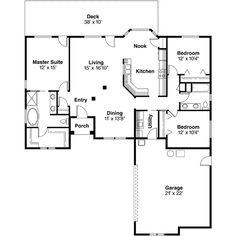 Perfect floor plan. Mediterranean Style House Plan - 3 Beds 2 Baths 1605 Sq/Ft Plan #124-476 Floor Plan - Main Floor Plan - Houseplans.com.