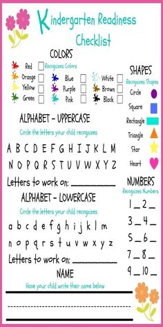 Ourhomecreations Printable Preschool Assessment Form  Preschool