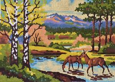 NEEDLEPOINT CANVAS Deer in Spring Landscape Print  12 ct Mesh Spring Landscape, Landscape Prints, Needlepoint Canvases, Vintage Textiles, Cotton Canvas, Norway, Deer, Moose Art, Stitch