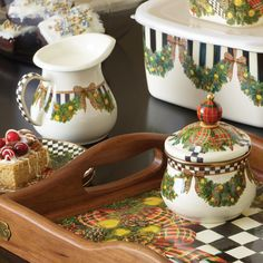MacKenzie-Childs | Evergreen Enamel Lidded Sugar Bowl