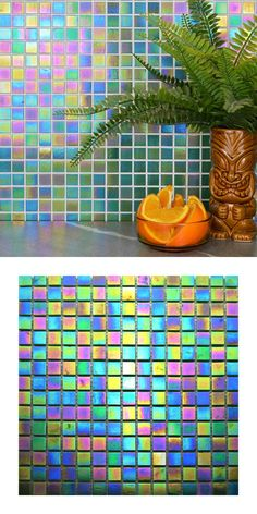 A green iridescent glass mosaic on a mesh netting. Individual tile size is There are 9 sheets per square meter and 225 tiles per sheet. Luminous Colours, Vibrant Colors, Mosaic Glass, Mosaic Tiles, Tile Edge, Kitchen Walls, Mesh Netting, Square Meter, Splashback