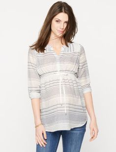 Luxe Essentials Convertible Sleeve Button Detail Maternity Tunic
