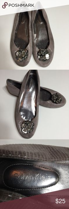 Calvin Klein Women's Flats Size 8M. MAXEEstyle. Lizard print with beaded detail. Leather and fabric. Rubber sole. Good condition. Cement color. (7) Calvin Klein Shoes Flats & Loafers