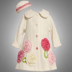 Amazon.com: Bonnie Jean GIRLS 2T-6X 2-Piece IVORY BONAZ BORDER FLEECE COAT and HAT SET: Clothing