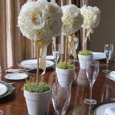 Silk Flower Topiary Tree Decoration Wedding 50th Anniversary Engagement Birthday On Etsy 20 00