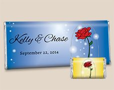 Order custom candy bars for your Beauty and the Beast wedding with As Old As Time personalized candy wrappers. In your choice of background colors, the personalized names of bride and groom are accented by The Enchanted Rose. Beauty And Beast Rose, Beauty And The Beast Wedding Theme, Disney Beauty And The Beast, Wedding Beauty, Homemade Wedding Favors, Candy Wedding Favors, Wedding Goals, Wedding Themes, Wedding Ideas