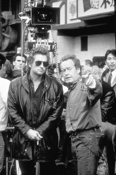 Ridley Scott directs Michael Douglas on the set of BLACK RAIN (1989). #Oscars #Platinum #SableFilms