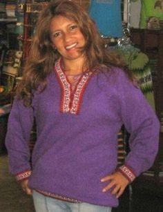 Lila #Folklore #Pullover aus #Peru, #Alpakawolle