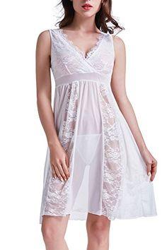 4fc9b617d0 HiMiss Women Sexy Long Lace Lingerie Babydoll Nightdress V Neck Chemise  Sleepwear