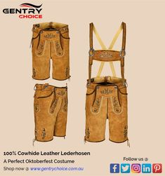 ✔️100% cowhide suede leather throughout - Premium quality material ✔️Decorated with manual artwork of symbolic Oak branch embroidery ✔️Graceful touch of double toning on golden brown colour leather - adding grace to the outfit ✔️Adjustable suspender with straps for size adjustment ✔️Back waist laces offering flexibility of easing waist for upto 2 inches if desired ✔️Rustic horn matching buttons ✔️Belt loop for waist belt if you desire to wear one #GentryChoice #picoftheday #oktoberfest Cowhide Leather, Suede Leather, Mens Lederhosen, Oktoberfest Costume, Costume Shop, Tonne, Golden Brown, Thighs, Costumes