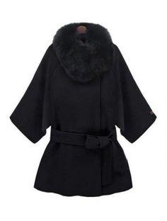 Black Fur Collar Half Sleeve Belt Wool Cape Coat