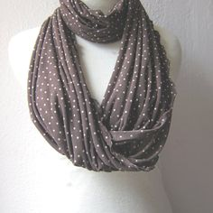 Dot+Jersey+Scarf+Infinity+scarf+Dark+Brown+by+whitewolfsclouds,+$18.90